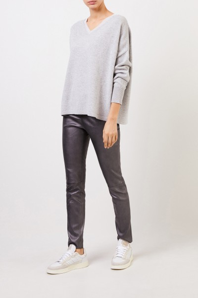 Wool-Silk-Jumper with Lurex-Detail Grey