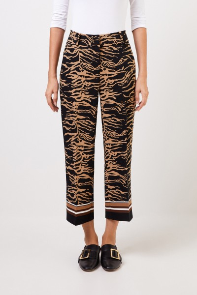 Cambio Trousers 'Claire' with Tiger-Print Beige/Black
