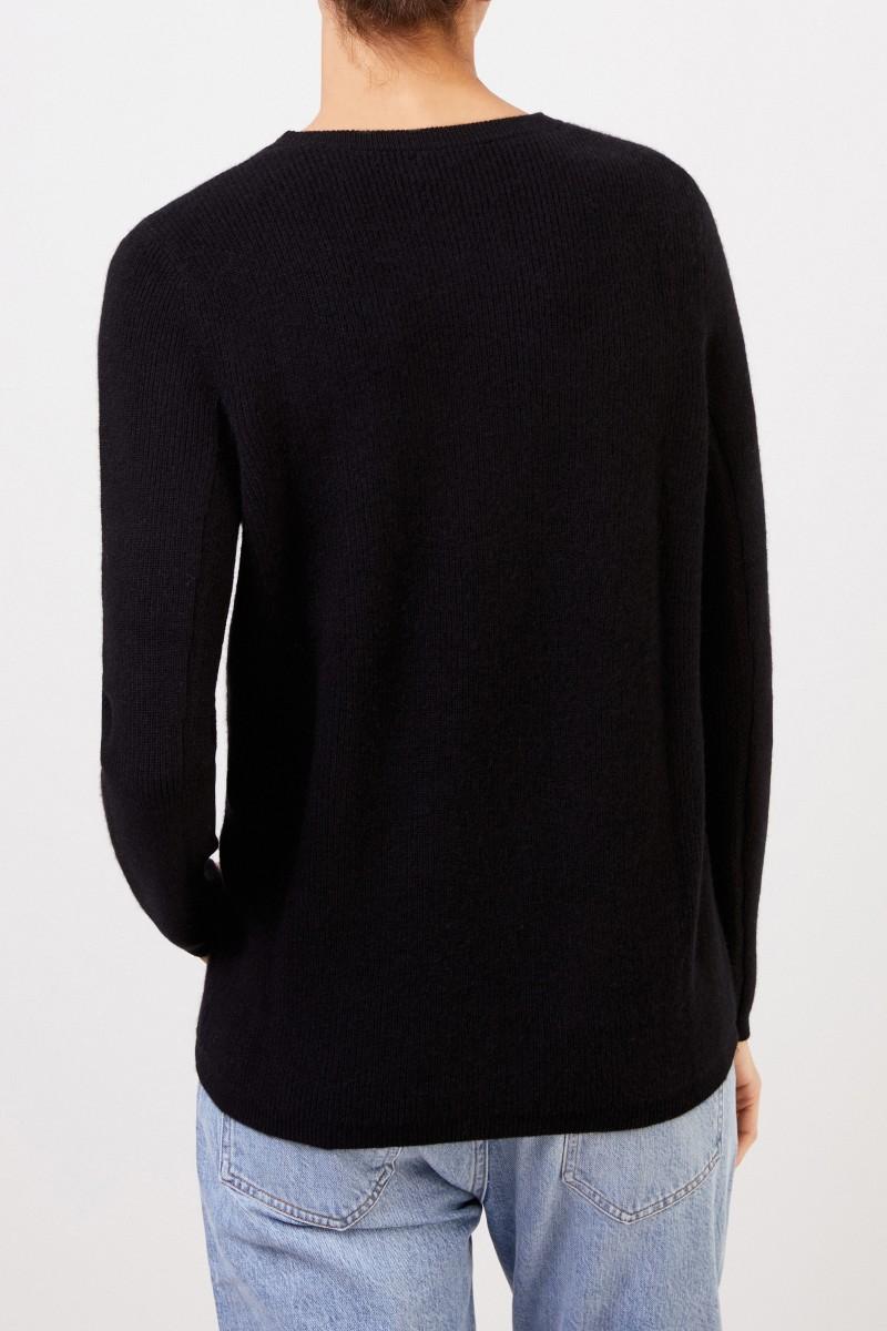 UZWEI Cashmere-Pullover mit Mesh-Strick Schwarz