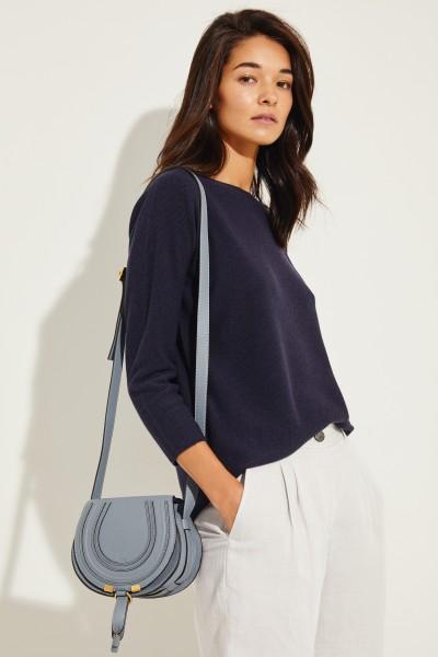 Woll-Pullover mit verkürzten Ärmeln Blau
