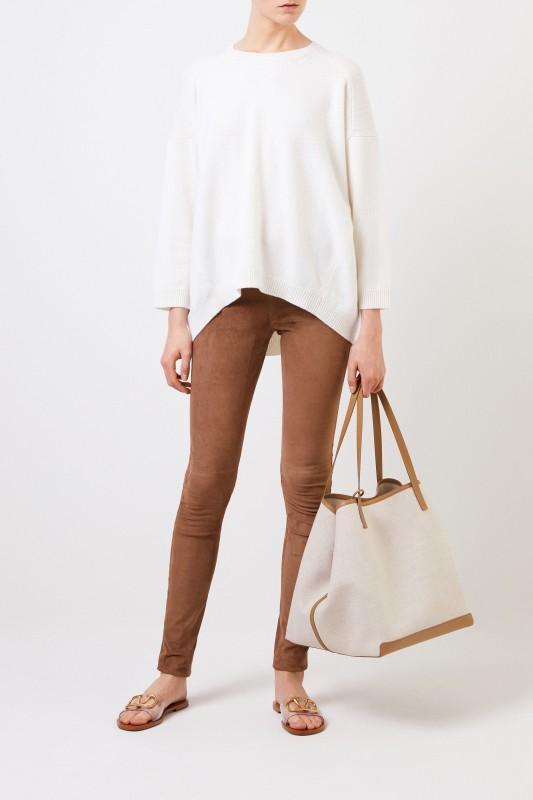 Valentino Cashmere-Pullover mit verkürzter Front Crème