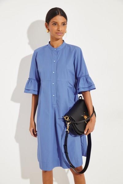 Hemdblusenkleid mit verkürzten Ärmeln Blau