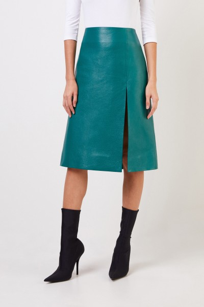 Balenciaga Leather skirt with the slit detail green