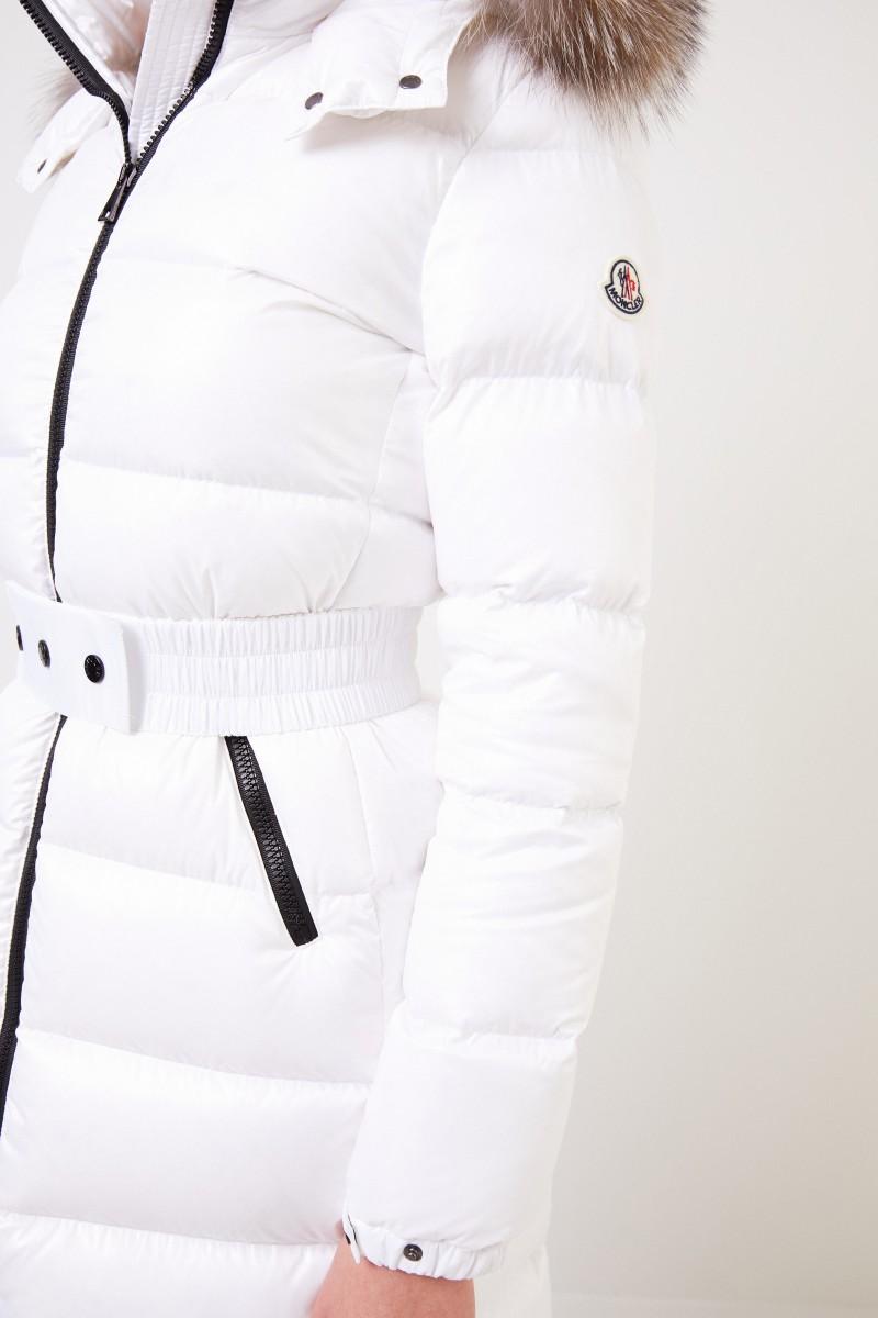 Moncler Langer Daunenmantel 'Hudson' mit Fellkragen Weiß