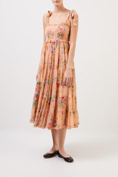 Zimmermann Baumwoll-Seiden-Kleid 'Zinnia' mit floralem Print Coral/Multi