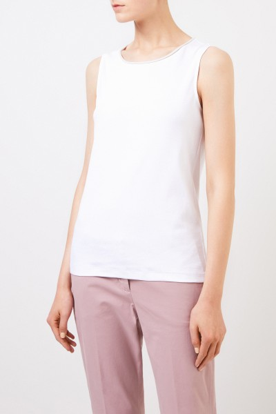 Fabiana Filippi Ribbed top with rolled hem White