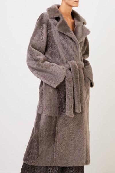 Yves Salomon Reversible lambskin coat with belt Taupe