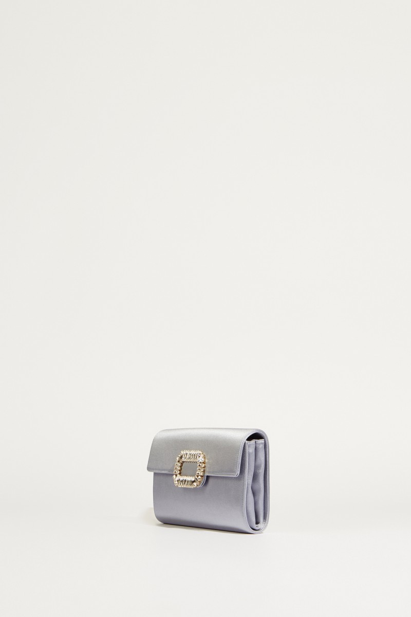 Satin-Clutch 'Envelope Flap' Grau