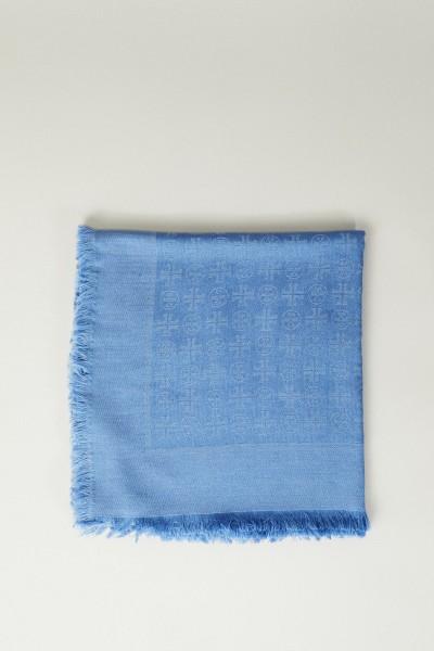 Woll-Seiden-Schal mit Jacquard Blau