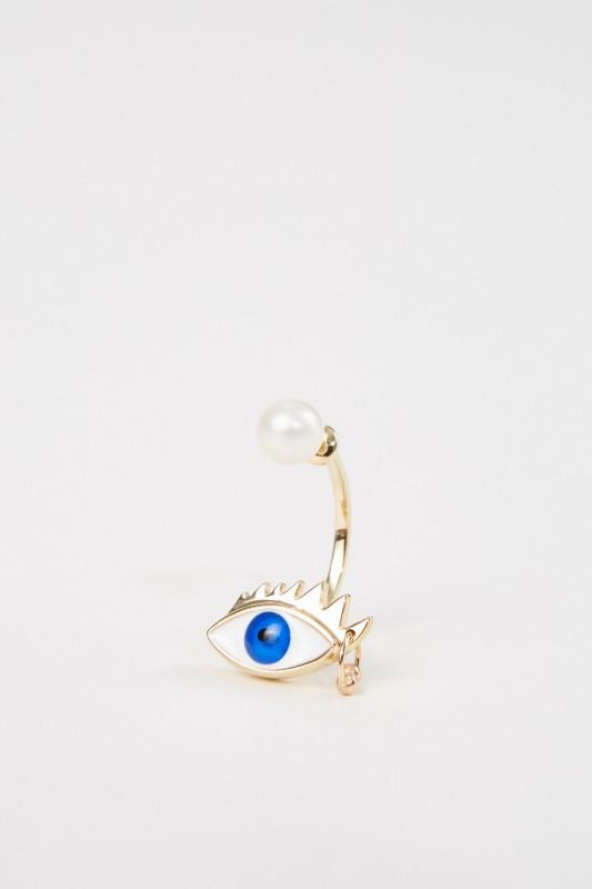 Delfina Delettrez Ohrring 'Eye Piercing' Gold/Blau