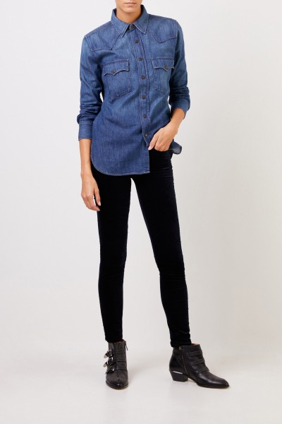 7 for all mankind Samt-Jeans 'The Skinny' Marineblau