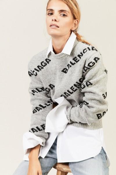 Wollpullover mit Schriftzug Grau/Schwarz
