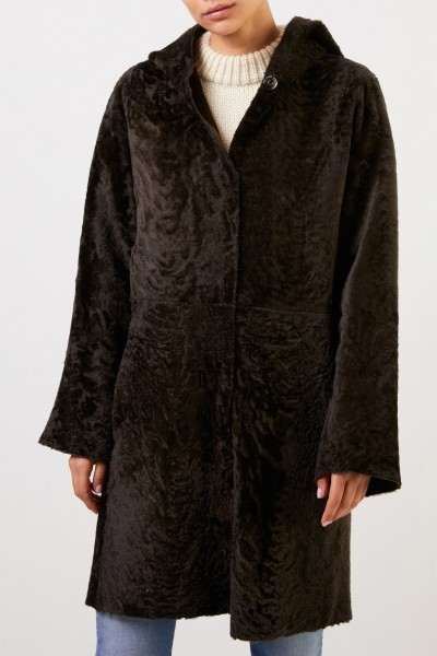 Furry Reversible Lambskin Coat with Hood Dark Green
