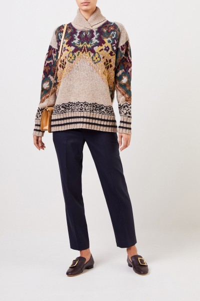 Etro Wool silk pullover with print Beige/Multi