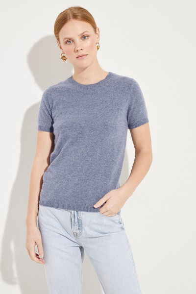 Kurzarm Cashmere-Pullover Blau