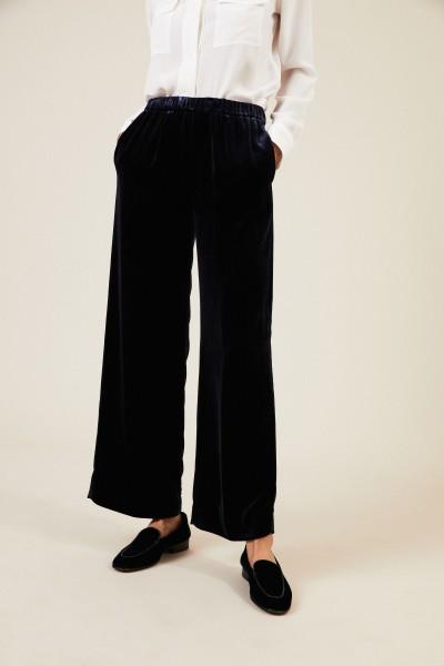 Samt-Hose mit weitem Bein Blau
