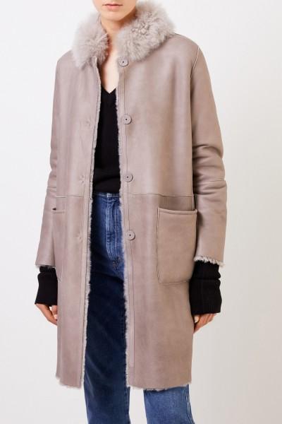 Manzoni 24 Reversible lambskin coat with fur collar Taupe
