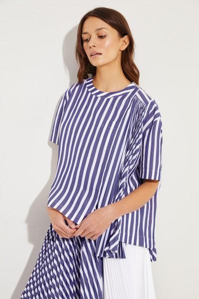 Gestreiftes Baumwoll-Shirt mit Plissee-Detail Blau/Weiß