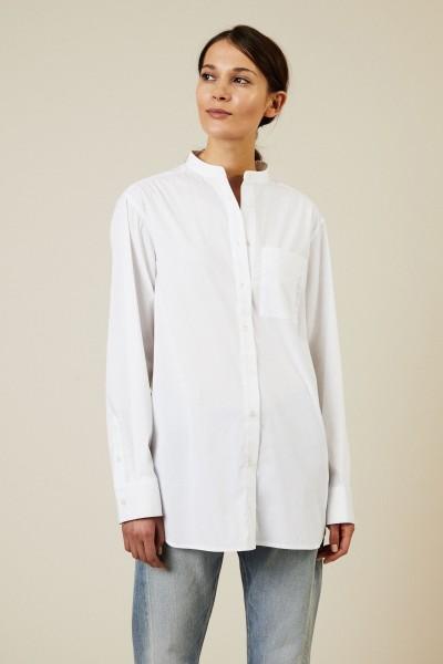Bluse mit Stehkragen Weiß