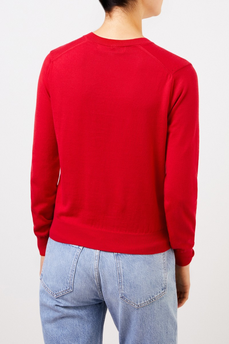 Comme des Garcons Play Woll-Pullover mit Herz-Emblem Rot