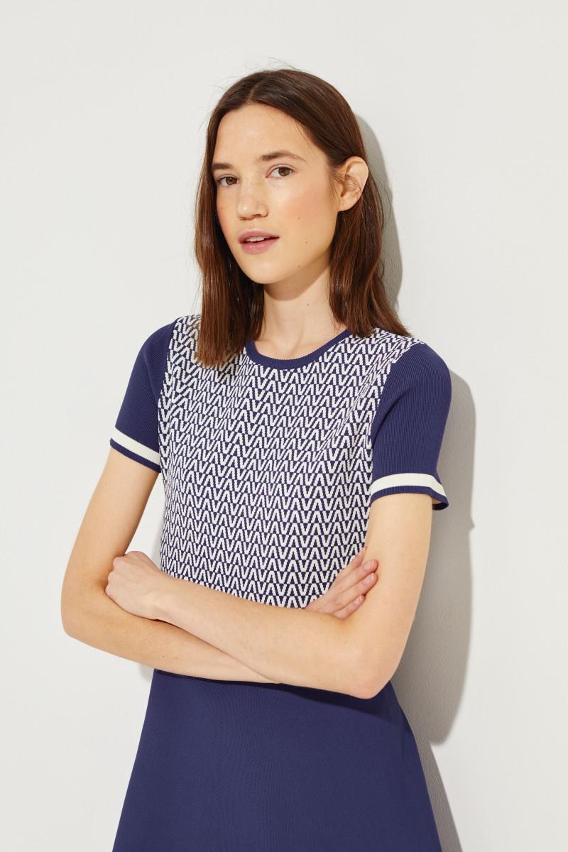 Gemustertes Strick-Kleid Blau/Weiß