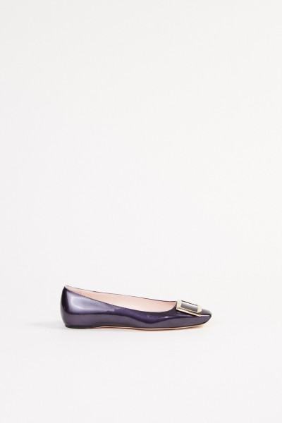 Patent Leather Flat 'Trumpet' with Buckle Blue