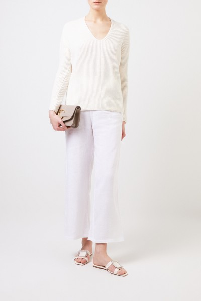 Cashmere sweater with v-neck Ecru