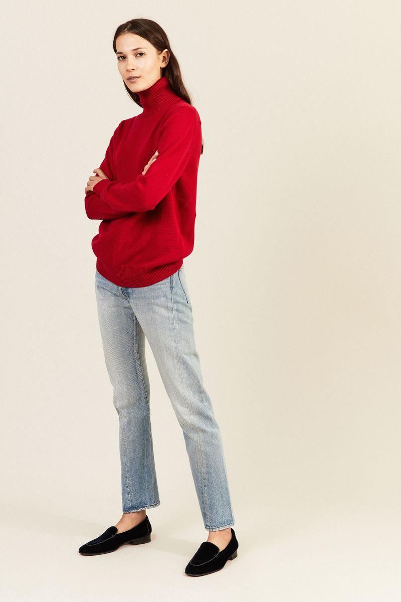 Cashmere-Rollkragenpullover Rot