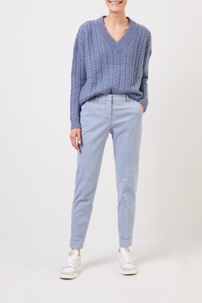 Cotton trousers with folded hems Light Blue