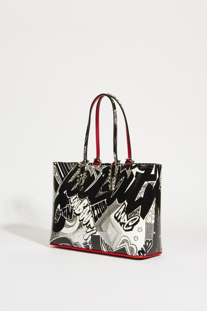 Shopper 'Cabata Small' mit Grafitti-Design Schwarz/Weiß