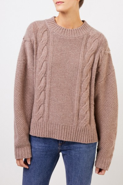 Uzwei Woll-Cashmere-Pullover mit Zopfmuster Taupe