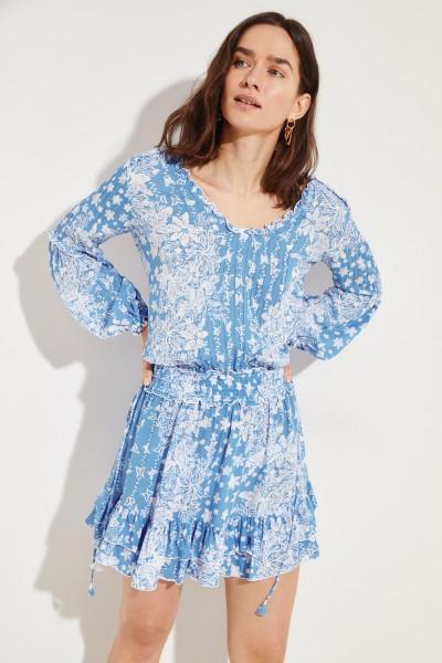 Kleid 'Ilona' mit floralem Print- Blau/Weiß