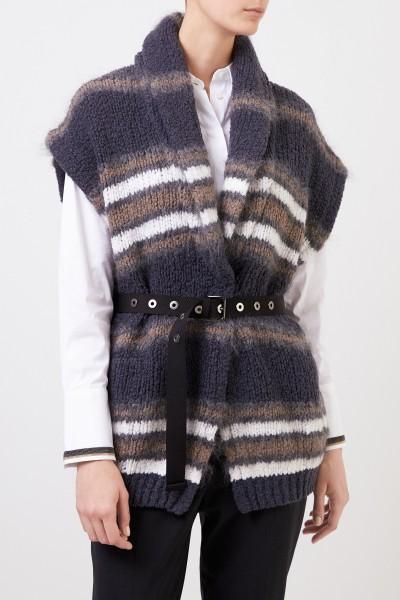 Brunello Cucinelli Short sleeve wool cardigan with belt Grey/Multi