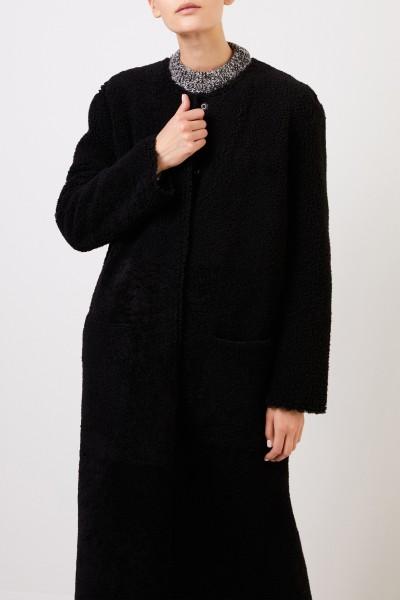 UNGER Long reversible lambskin coat Black
