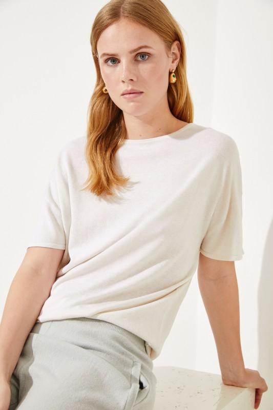 Kurzarm Seiden-Cashmere-Pullover Crème