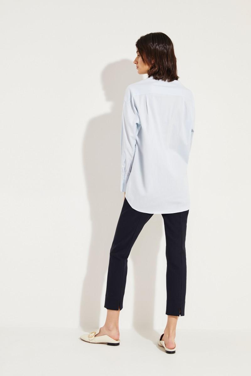 Oversize Baumwoll-Seiden-Bluse Blau