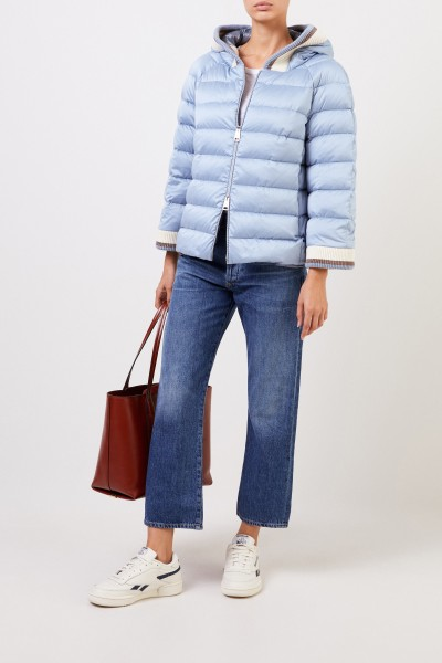 Down jacket with hood Light Blue