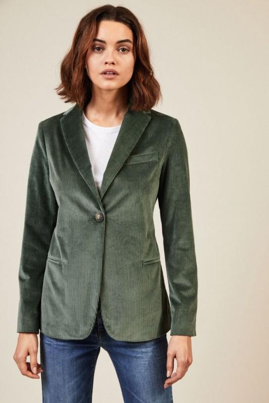 Taillierter Samt-Blazer Grün