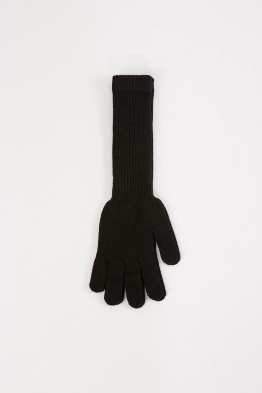Uzwei Lange Woll-Cashmere-Handschuhe Schwarz