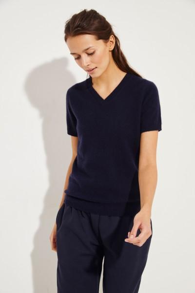 Kurzarm Cashmere-Pullover mit V-Neck Marineblau