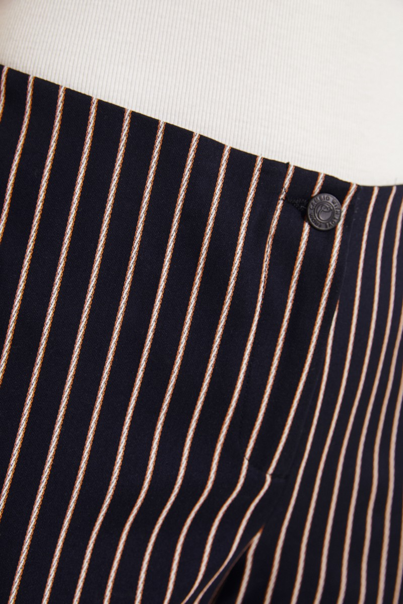 Baumwoll-Hose mit Streifenmuster Marineblau/Multi