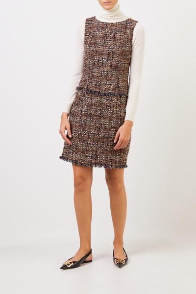 NUSCO 2107 Tweed-Kleid mit Fransen Braun/Multi