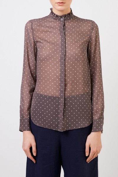 Iris von Arnim Silk blouse with polka dots 'Marthe' Brown