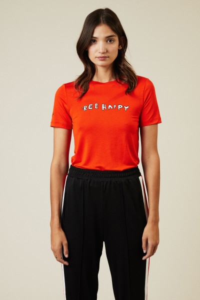 T-Shirt 'Be Happy' Rot