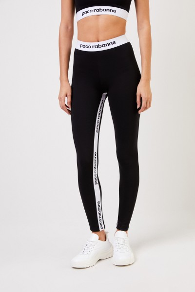Paco Rabanne Jogging trousers with logo lettering Black/White