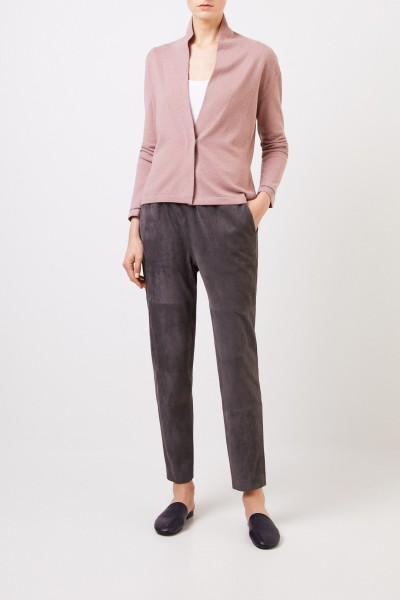 Suede leather trousers with elastic waistband Grey