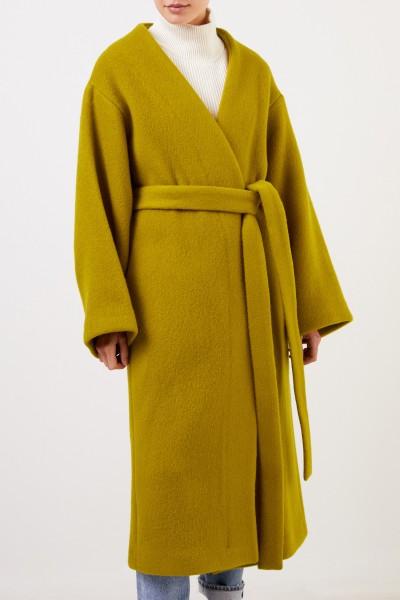 Ochi Wool mohair coat with belt Mustard Yellow