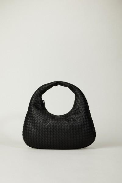 Geflochtener Shopper 'Venetia Hobo Medium' Schwarz