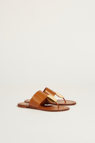 Leder-Sandale 'Patos Disk' mit goldfarbenem Detail Braun/Gold