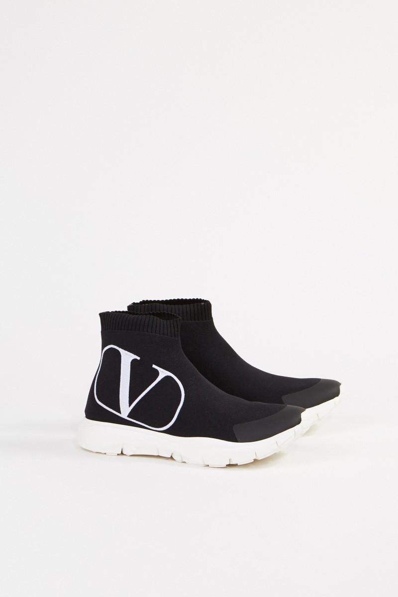 Valentino Sock-Sneaker mit Logo Schwarz/Weiß